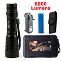 6000 lúmenes zoomable de la linterna/antorcha ajustable led cree xm-l t6 linterna táctica + 1x18650 batería + cargador