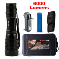 6000Lumens Flashlight Zoomable/Adjustable Torch LED CREE XM-L T6 Tactical Flashlight +1x18650 Battery+Charger
