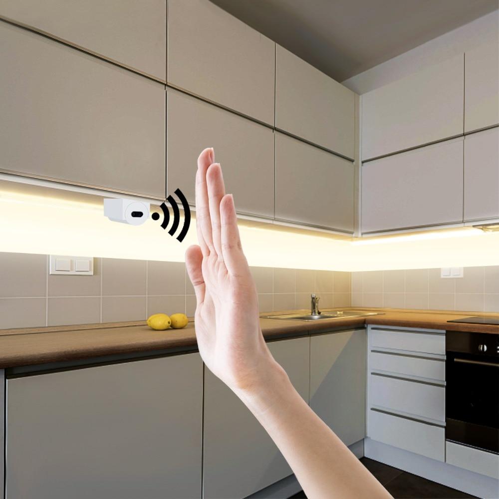 Hand Sweep Sensor LED Strips 12V Waterproof 1M 2M 3M 4M 5M Motion Sensor Night lights DIY Cupboard Wardrobe Closet Kitchen lamp|LED Strips|   - AliExpress