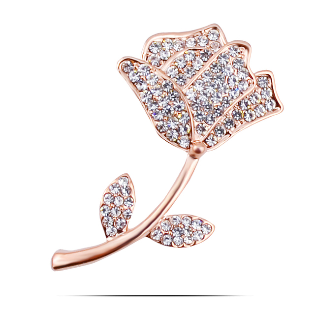 751dd8af0 B353 Delicate Rose Flower Brooches For Women Gold And Silver Color  Jewellery Rhinestone Pins And Brooches Luxury Collar Pin