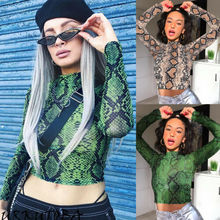 New Women Slim Crop Tops Casual Snake Print Sheer Top Long Sleeve T-Shirt