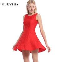 Oukytha 2017 Mùa Hè Mùa Thu Không Tay Slim Mỏng Bodycon Ăn Mặc Đơn Giản O-Cổ Xe Tăng Đảng Đen/Red Dress Mini Sexy Dress WQS17235