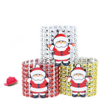 10Pcs/lot 8Rows Shiny Diamond Rhinestone Mesh Bow Covers Napkin Ring with Cute Santa Claus for Christmas Chair Sashes Decoration
