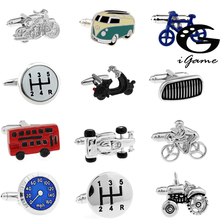 Free Shipping 18 Designs Vintage Bus Cufflinks Novelty Traffic Car Design Brass Material cheap Tie Clips Cufflinks Fashion Classic Cuff Links Round Simulated-pearl car series Metal Copper Unisex igame