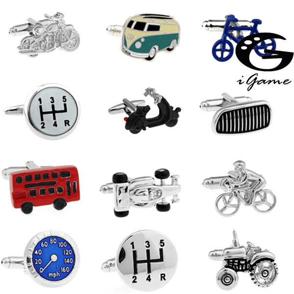 Free Shipping 18 Designs Vintage Bus Cufflinks Novelty Traffic Car Design Brass Material
