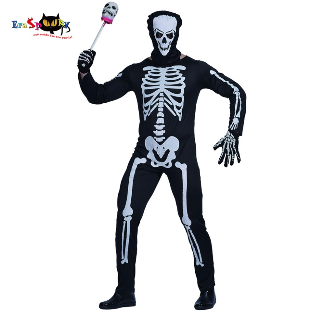 Men Skeleton Ghost Devil Costume Carnival Party Game Performance Adult Male Outfits Clothing Scary Bone Halloween Costumes