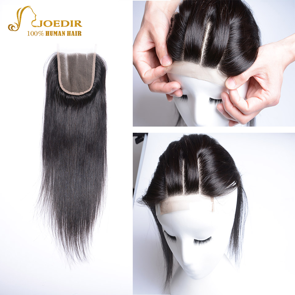 Joedir Peruvian Straight Hair Full Lace Frontal Closure 100% Human Hair Closure Middle/Free/Three Part Closure Non-Remy Hair