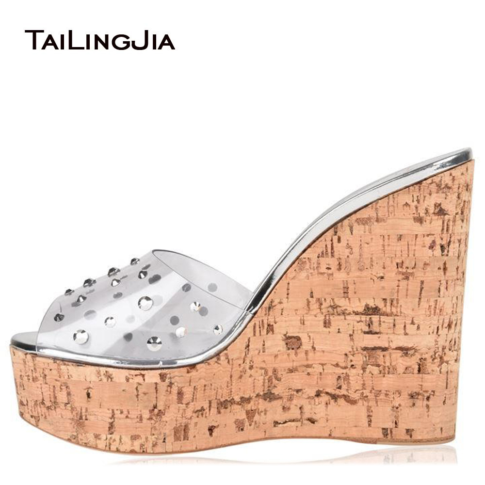 Peep Toe Cork Wedge Slide Sandals for Women Transparent PVC Platform Mules with Crystal Sky High Dress Heels Ladies Summer Shoes women peep toe cork wedge sandals high heel platforms evening dress heels ladies summer shoes patent white elegant wedding shoes