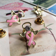 PBR042 (1), oro/Argento Placcato Della Lega Del Rhinestone Dello Smalto Nastro Rosa Angelo Breast Cancer Tac Pin(China)
