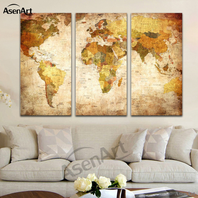 Aliexpress buy 3 panel vintage retro world map canvas painting 3 panel vintage retro world map canvas painting prints on canvas wall art picture home decoration gumiabroncs Image collections