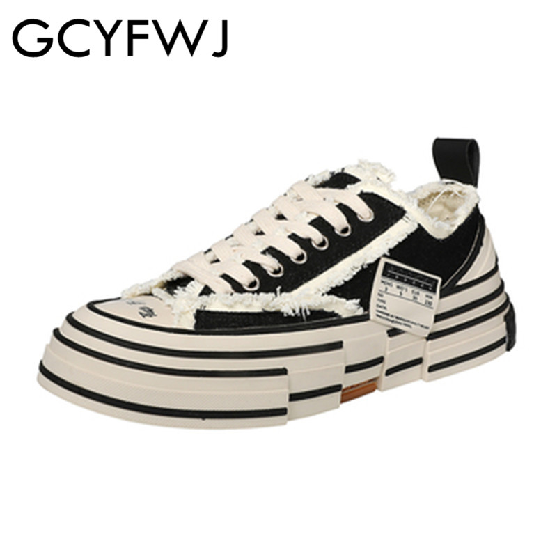 Gcyfwj 남자와 여자 vulcanized 신발 클래식 레트로 코르크 단독 캔버스 신발 거리 착용 높은 패션 힙합 신발 대형 44-에서여성 경량 신발부터 신발 의  그룹 1