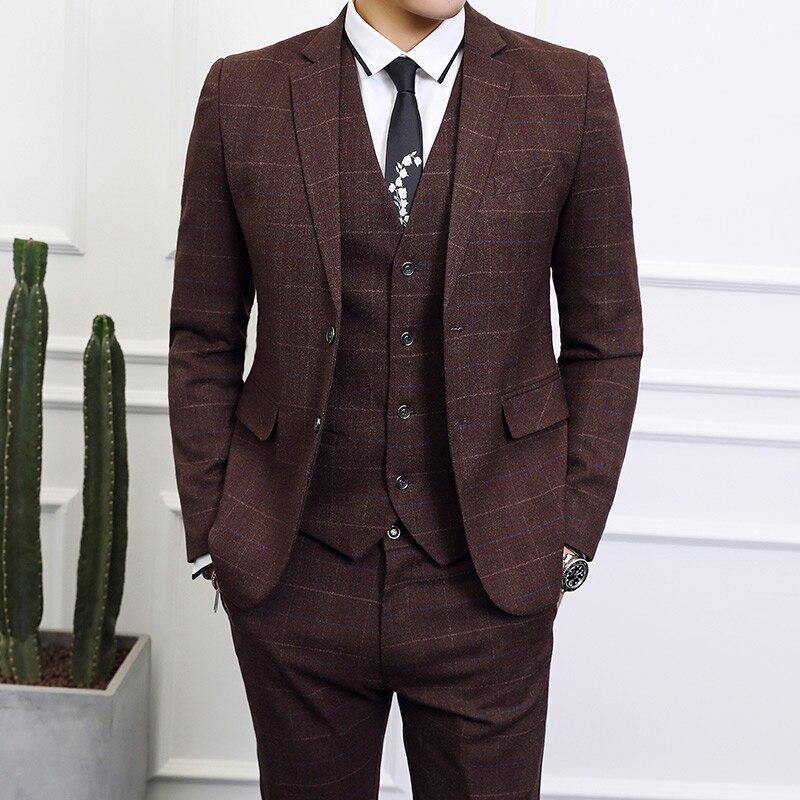 Elegant Men's Slim Fit Plaid Suit Men Brand Business Suits Formal Office Work 6XL Big Size Wedding Suits Jacket Pants Vest Q524
