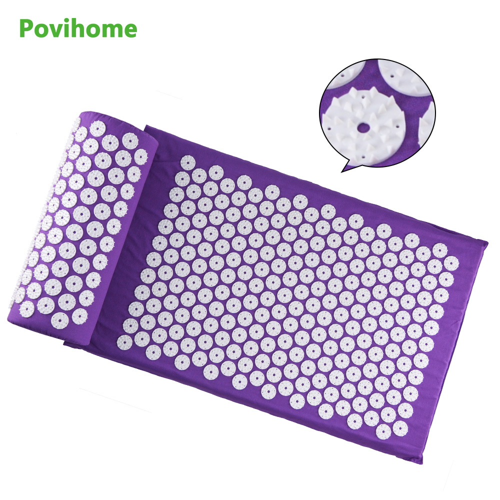 Povihome  Therapy Cushion Acupressure Mat Relieve Stress Pain Acupuncture Spike Yoga Mat with Pillow Purple D06909 povihome 1set massage cushion acupressure therapy mat relieve stress pain relief acupuncture spike yoga mat with pillow d06874