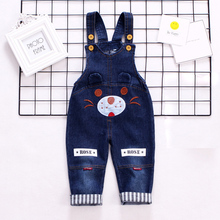 DIIMUU Baby Boys Girls Denim Overalls Kids Clothing Fashion Jeans Jumpsuits Trousers Cartoons Children Casual Suspender Pants