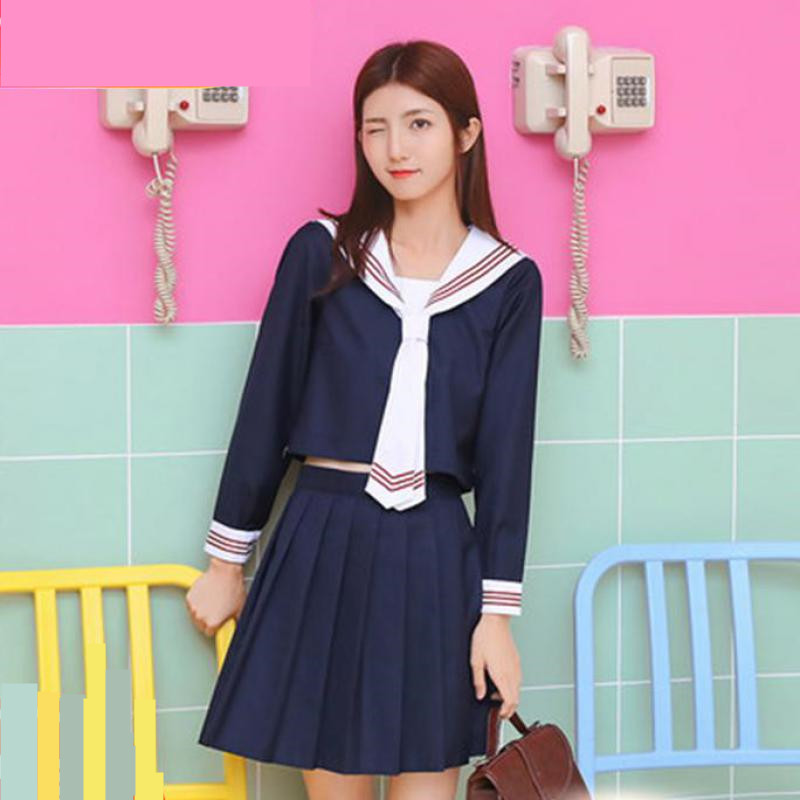 2019 New Girl School Uniforms Japanese Korean Girls School Uniforms Design Long/short Sleeve Student Sailors Uniforms Jk Cosplay