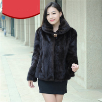 Women real mink fur coat whole brief paragraph short section fur jackets mink overcoat ms autumn and winter mink outerwear