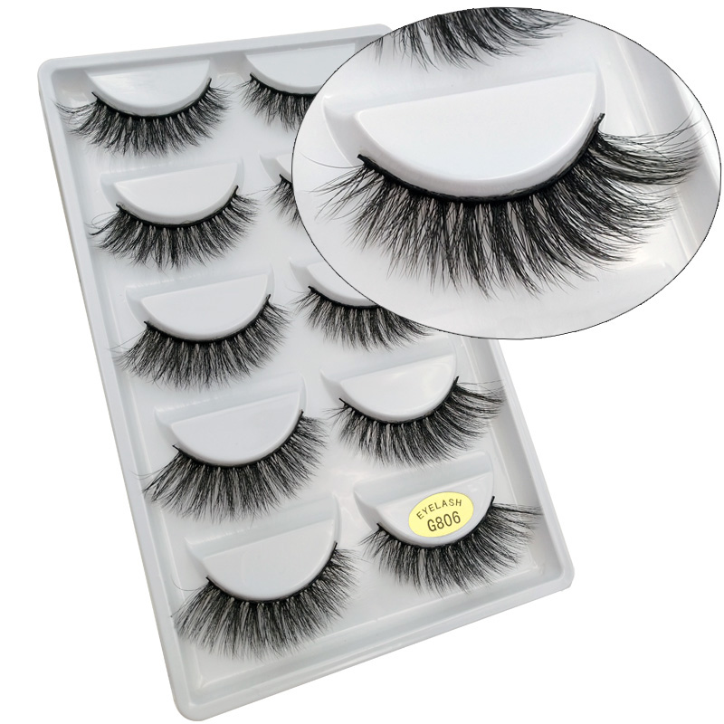 Popular 5 Pairs/set False Eyelash Luxry Thick Soft 3d Mink Eyelashes Black Natural Eye Lashes Makeup Tools Professional Cosmetic