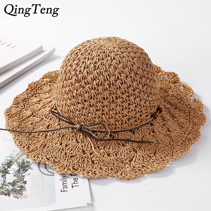 2f099bc1594 Summer Sunscreen Beach Hat Girl Hand-Woven Wide Brim Chapeau Femme Soft  Collapsible Straw Hat Panama Travel Sun Visor