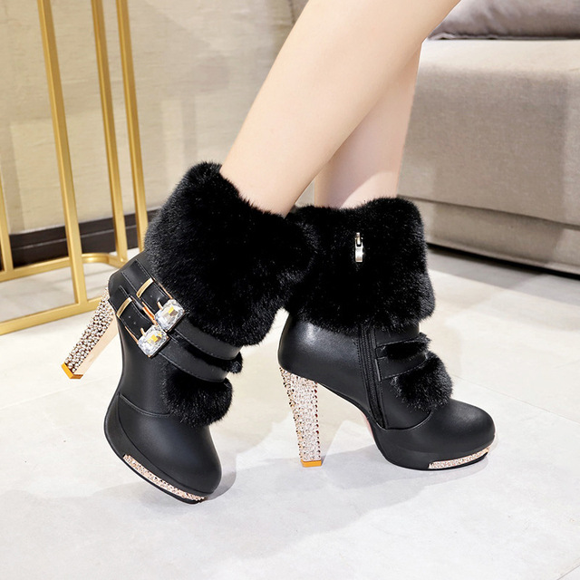 Xiaying Smile Women High end Boots Super High Fashion Warm Double Buckle Faux Fur Crystal Casual Shoes Thin Heels Ladies Boots 5