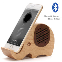 High-end Walnut Elephant Sculpt Mobile Phone Holder Pen Case/Bluetooth Speaker Styles Home Decoration for Father Festival Gift