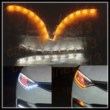 10 sets/lot 50cm crystal led drl flexible strip daytime running light switchback white amber moving drl led turn signal light