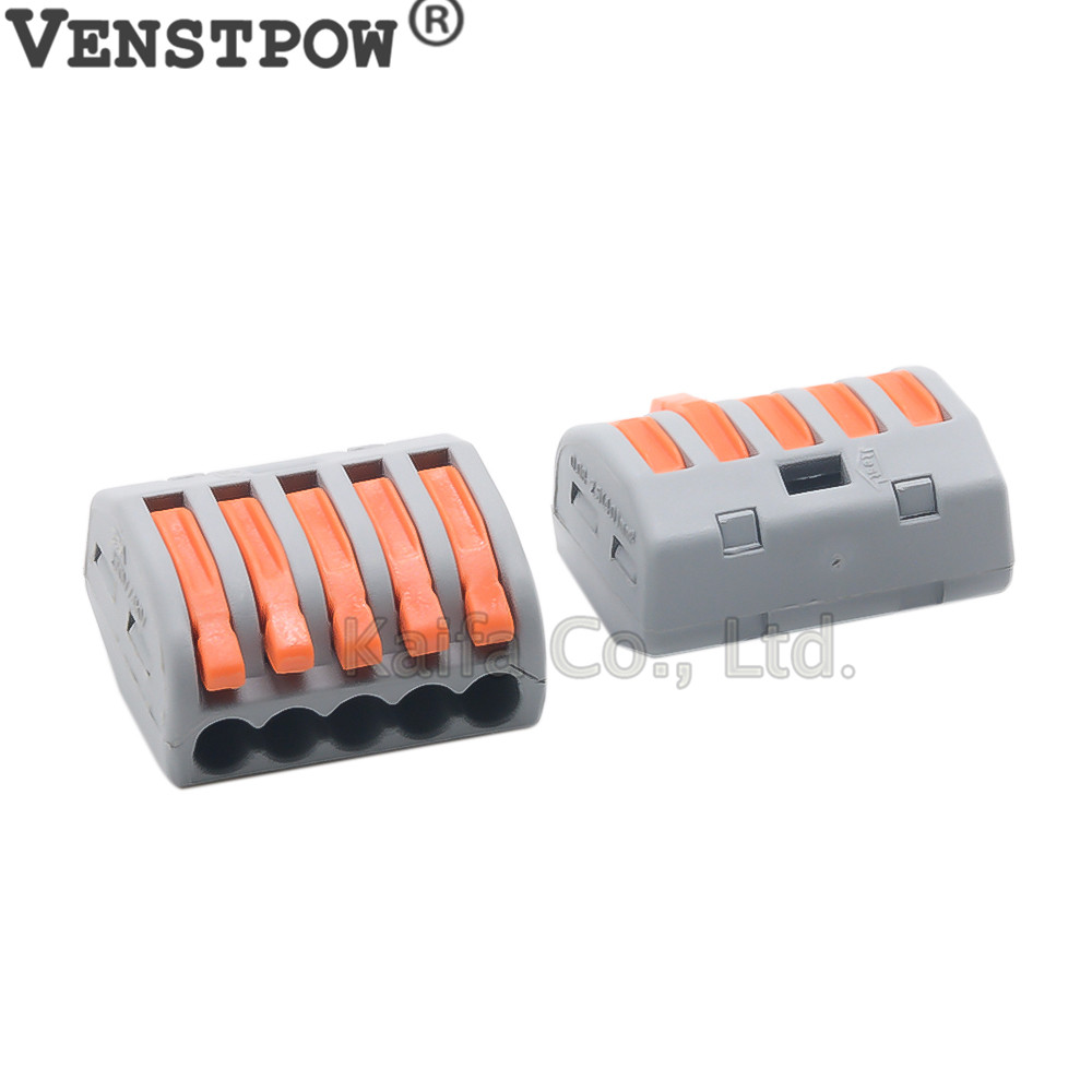 Wago Type20pcs Lot222 415 Pct215universal Compact Wire Wiring Biscuit Jack Connector 5 Pin Conductor Terminal Block With Lever 008 25mm2 In Connectors From Lights