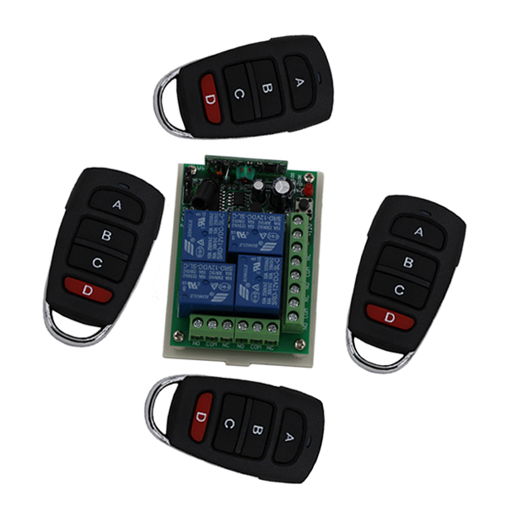 High Quality DC24V RF Wireless Remote Control Switch 4CH 10A 1pcs Receiver & 4pcs Transmitter Light Lamp Window Garage Doors dc12v 6ch 10a wireless rf remote control switch transmitter receiver for appliances gate garage door window lamp