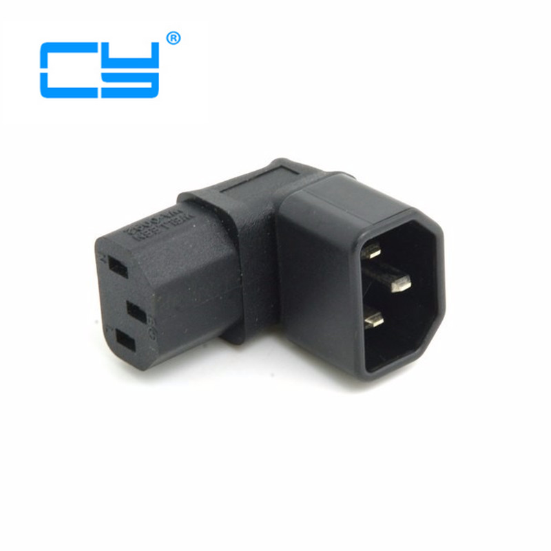 IEC C14 Male Plug To Down Right Angled 90 Degree Iec Angle IEC C13 Female Socket Power Extension Adapter Connector Adaptor