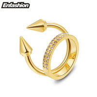 Fashion double spikes rings with rhinestones punk wedding rings rose gold color midi ring stainless steel rings wholesale