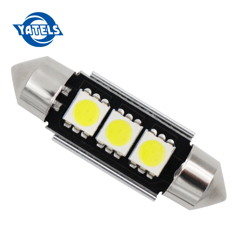 36mm 39mm C10W C5W 3SMD 3 SMD 5050 LED CANBUS Festoon Bulb Car Licence Plate Light Auto Housing Interior Dome Lamp White DC 12V festoon 36mm 1 8w 180lm 9 x smd 5050 led white light car reading roof dome lamp 12v pair