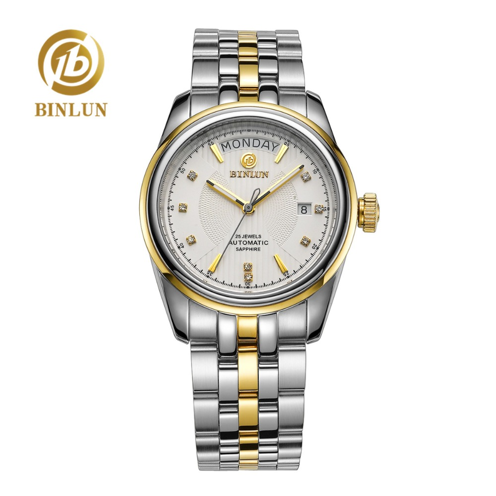 BINLUN Automatic Watch Dial Gold Sapphire Top-Brand Waterproof Luxury Crystal 18K Business