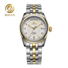 BINLUN Top Brand Men's Automatic Watch Luxury 18K Gold Dial Sapphire Crystal Business Men's Automatic Watch Rolexable relogio