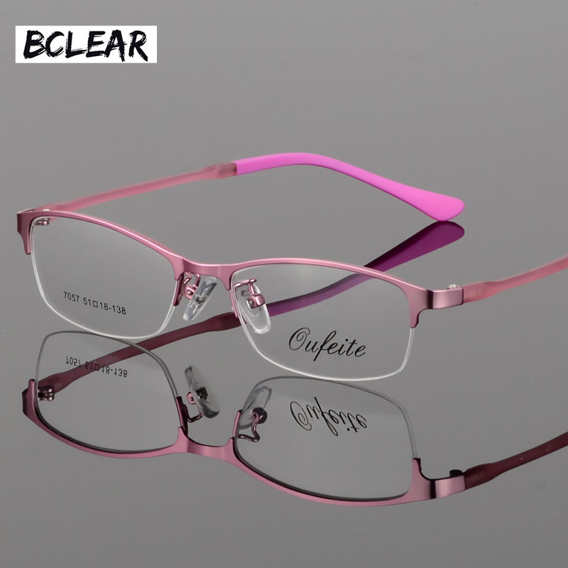 BCLEAR New Arrival Women Metal Alloy Glasses Frame Ultra-Light Frames Halvfälg Optisk Glasögon Frame Färgglada Glasögon TR Legs
