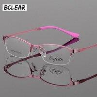 Bclear新しい女性金属合金メガネフレーム超軽量フレームハーフリム光学眼鏡フレームカラフルなアイウェアtr脚S7057