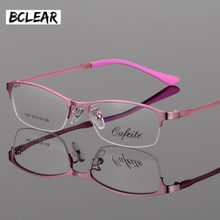 7e3515da51d BCLEAR New Arrival Women Metal Alloy Glasses Frame Ultra-light Frames Half  Rim Optical Eyeglass Frame Colorful Eyewear TR Legs