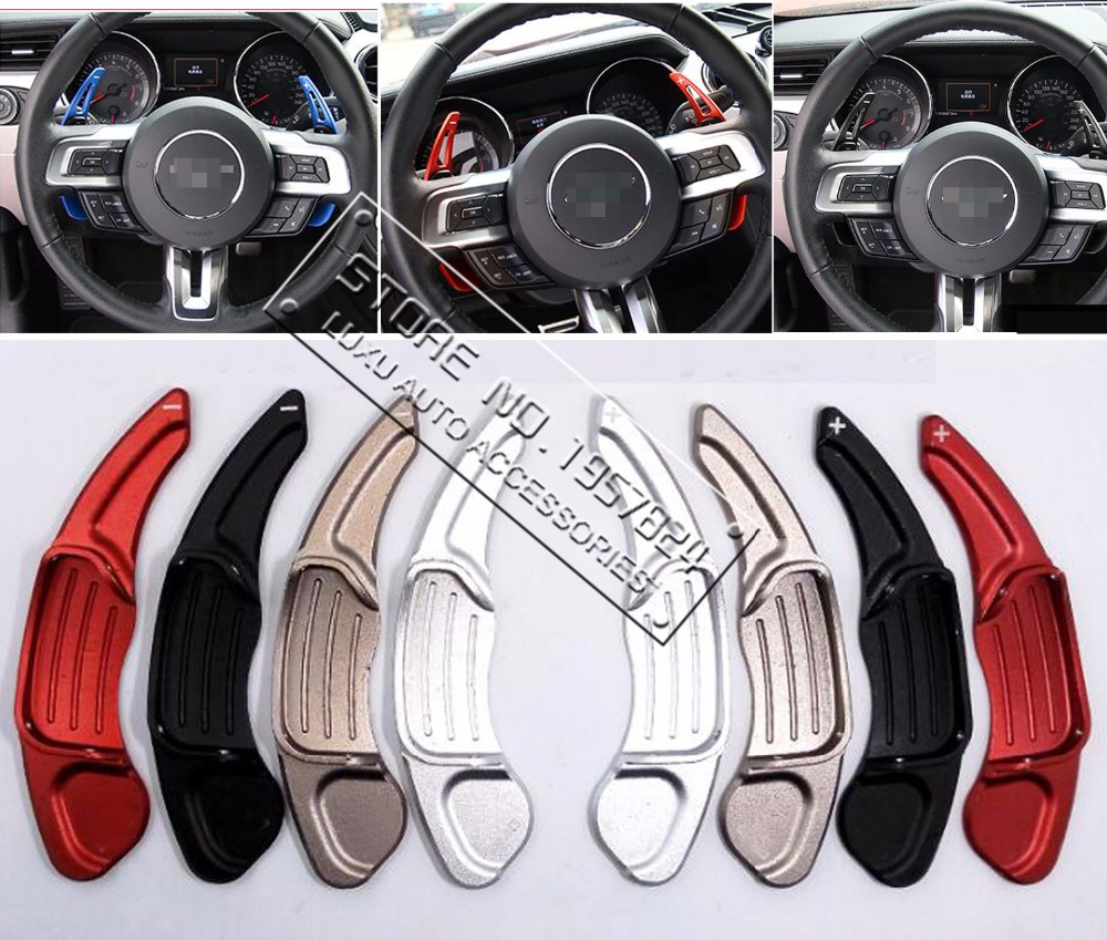 DEE Aluminium steering wheel DSG paddle shifters for Ford Mustang EcoBoost GT GT500 Shelby GT 350 Paddle Gearbox Car stickers майка print bar ford mustang shelby gt500