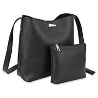 2pcs PU Leather Pure Color Multifunctional Strap Women Bucket Bag For Women