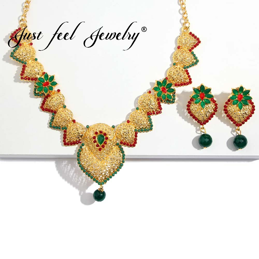 JUST FEEL Crystal Beads Jewelry Set For Women Indian Wedding Fashion Imitation Pearl Gold Color Dubai Arab Necklace Earrings Set classical malachite green round shell simulated pearl abacus crystal 7 rows necklace earrings women ceremony jewelry set b1303