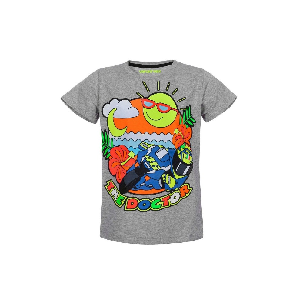 2018 Valentino Rossi VR46 Moto GPT-shirt Kids Motorcycle T-shirt The Doctor Life Style Grey Yellow Summer Quick Dry T-Shirt