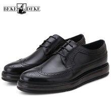 515478d9 Vintage para hombre de cuero genuino Oxfords Formal vestido de punta  redonda zapatos de hombre plataforma plana de estilo britán.