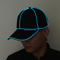New 2017 Fashion Party Hats Cotton Snapback LED Hats Cool Light EL Wire Baseball Caps For