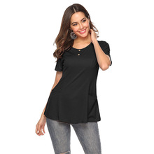 Summer T Shirt Women T-shirt 2019 Casual High Quality Button Loose Pocket Stitching Solid Short Sleeves O-Neck Plus Size T Shirt casual scoop neck solid color short sleeves t shirt for women