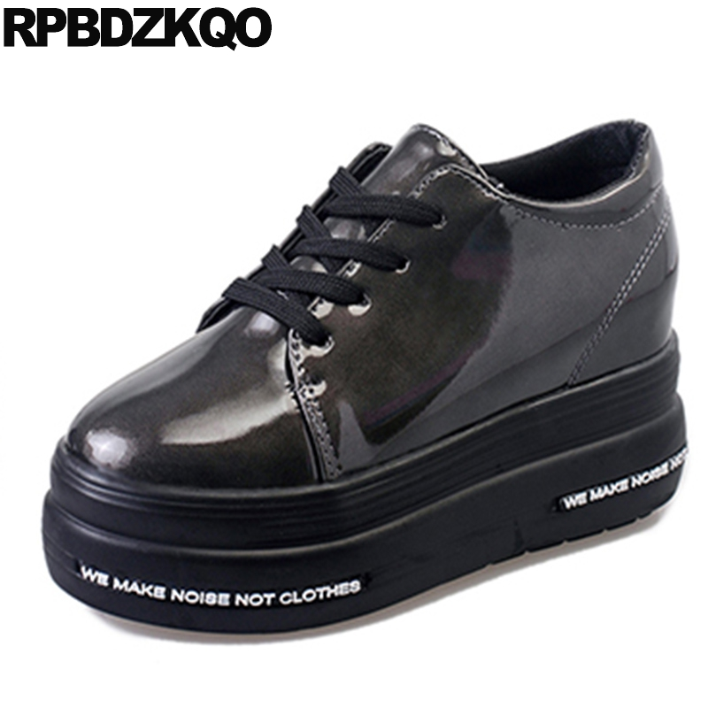 Creepers Patent Leather Women Round Toe Platform Shoes Black Winter Elevator Flats European Thick Sole Beautiful Fashion Latest