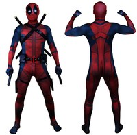 Universe Classic Muscle Chest Deadpool Costume Full Bodysuit Zentai Suits Kids 3D Style Cosplay Hood Separated
