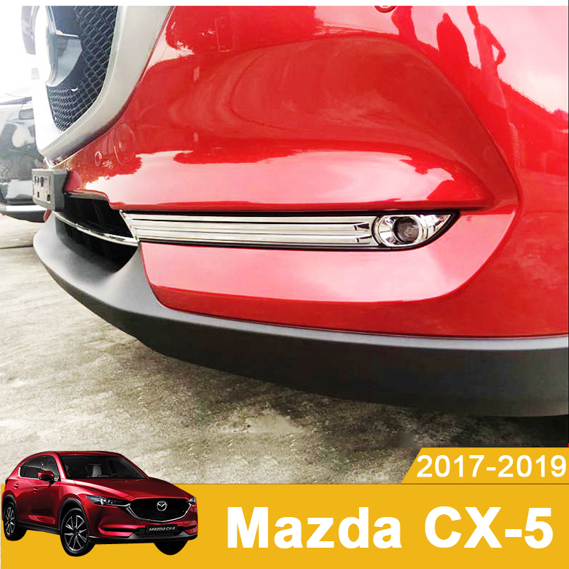 Car Styling Front Fog Lamps Cover Grille Slats Fog Lights Cover Decoration Strips For <font><b>Mazda</b></font> CX-5 <font><b>CX5</b></font> 2017 2018 <font><b>2019</b></font> <font><b>Accessories</b></font> image
