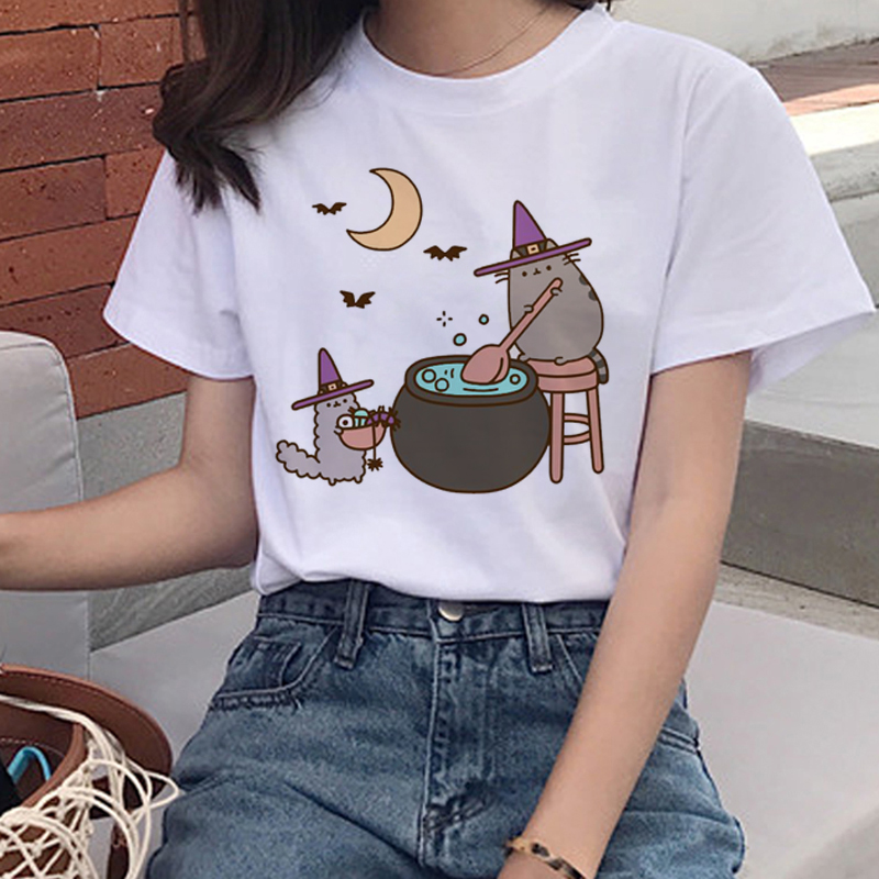 Kawaii Pusheen Cat T Shirts Women Harajuku Ullzang Funny T-shirt 90s Cartoon Print Tshirt Graphic Korean Style Top Tees Female