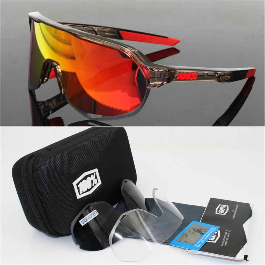 d4ce0d22e6 100% Brand speedtrap S2 3 Lens polarized Outdoor Sports Bicycle Sunglasses  Gafas MTB Cycling Glasses