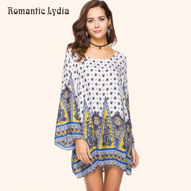 ce9810963986 Women Bohemian Short Dresses Plus Size 2018 Fashion Loose Casual Long  Sleeve Floral Print Boho Mini
