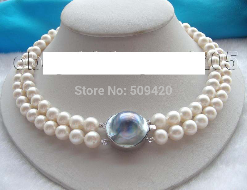 FREE SHIPPING>>@> > LI08PA HOT >>2r Natural 9.5mm White Round Pearl Necklace цена
