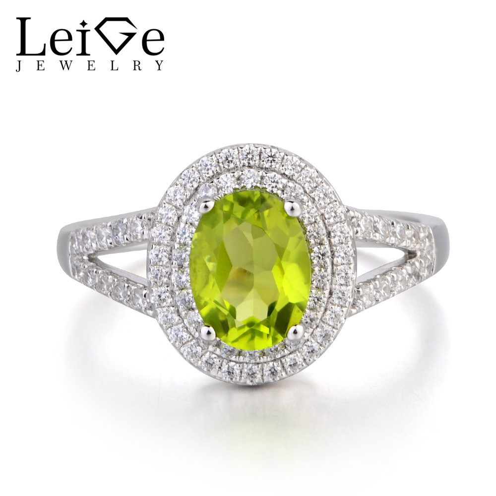 Leige Jewelry August Birthstone Natural Green Peridot Wedding Ring Oval Cut Fine Gemstone 925 Sterling Silver Ring Gifts for Her
